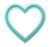 Zilveren die hartomlijsting op wit wordt geïsoleerd Stock Foto's