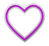 Zilveren die hartomlijsting op wit wordt geïsoleerd Stock Afbeelding