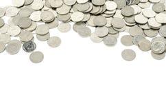 Zilveren die muntstuk op wit wordt geïsoleerd Royalty-vrije Stock Afbeelding