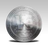 Zilveren die veritaseummuntstuk bij het witte 3d teruggeven wordt geïsoleerd als achtergrond Royalty-vrije Stock Foto