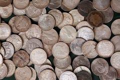 Zilveren dollarachtergrond Stock Foto