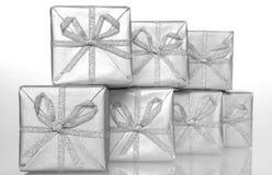 Zilveren dozen stock afbeelding