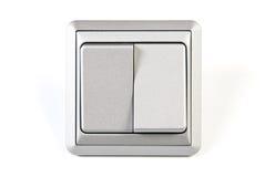 Zilveren dubbele lichte geïsoleerde schakelaar Royalty-vrije Stock Fotografie
