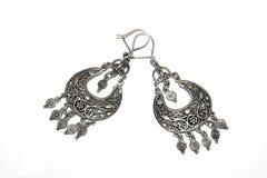 Zilveren earings Royalty-vrije Stock Foto's