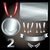 Zilveren elementen voor spelen en sporten Royalty-vrije Stock Foto