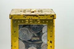 Zilveren en gouden kleur van Maleise muntstukken Stock Foto