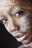 Zilveren en gouden make-up royalty-vrije stock afbeeldingen