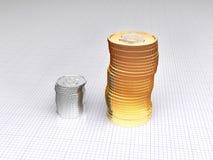 Zilveren en gouden muntstukken Royalty-vrije Stock Afbeelding