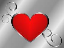 Zilveren en rode liefdeachtergrond vector illustratie