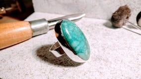 Zilveren en turkooise ring Royalty-vrije Stock Foto