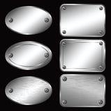 Zilveren Etiketten - Naamborden Stock Foto