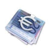 Zilveren euro geldklem en gevouwen euroweg Stock Afbeelding