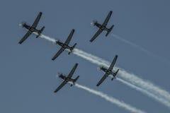 Zilveren Falconsteam 79 in vier schipvorming royalty-vrije stock foto