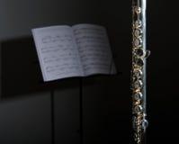 Zilveren Fluit met bladmuziek Stock Afbeelding