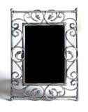 Zilveren fotoframe op wit Stock Afbeeldingen