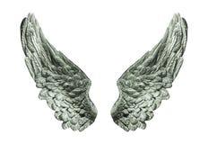 Zilveren geïsoleerde vleugels Royalty-vrije Stock Afbeelding