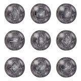 Zilveren geplaatste cryptocurrencymuntstukken Stock Afbeeldingen