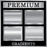Zilveren geplaatste gradiëntachtergronden Zilveren ontwerptextuur voor lint, kader, banner Abstract zilveren gradiëntmalplaatje Stock Afbeeldingen