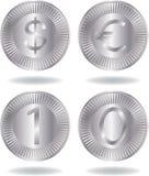 Zilveren geplaatste muntstukken Stock Foto's