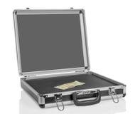 Zilveren geval met dollarrekening Stock Afbeeldingen