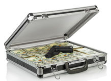 Zilveren geval met geld stock afbeeldingen