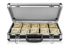 Zilveren geval met geld royalty-vrije stock afbeeldingen