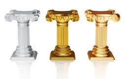 Zilveren goud en bronsvoetstukken Stock Afbeelding