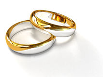 Zilveren-gouden Ringen Royalty-vrije Stock Foto's