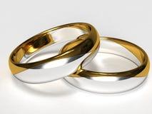 Zilveren-gouden Ringen Royalty-vrije Stock Afbeeldingen