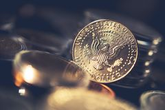 Zilveren Half Dollarmuntstuk Royalty-vrije Stock Fotografie