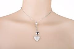 Zilveren halsband met twee harttegenhangers stock foto's