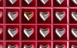Zilveren harten met gouden één Royalty-vrije Stock Foto