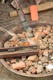 Zilveren het branden proces Stock Foto's