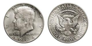 Zilveren het muntstuk halve dollar Kennedy 1964 van de V.S. stock afbeeldingen