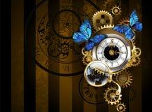 Zilveren horloges met blauwe vlinders royalty-vrije illustratie