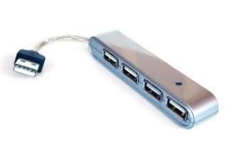Zilveren hub USB stock foto's