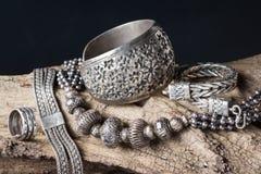 Zilveren juwelen royalty-vrije stock foto's