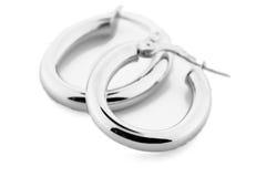 Zilveren Juwelen - Oorringen stock afbeeldingen