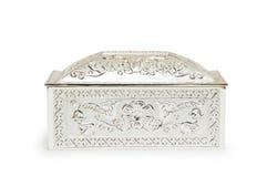 Zilveren juwelendoos die op wit wordt geïsoleerd, royalty-vrije stock fotografie