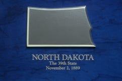 Zilveren Kaart van Noord-Dakota Stock Foto's