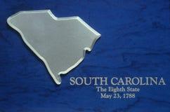Zilveren Kaart van Zuid-Carolina Royalty-vrije Stock Afbeeldingen