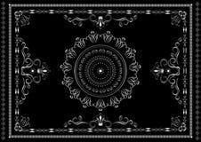 Zilveren kader van patronen met verdraaide kalligrafiestrepen en kronen op zwarte achtergrond vector illustratie
