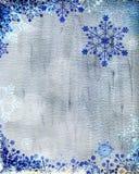 Zilveren Kerstkaart met blauwe sneeuwvlokken Royalty-vrije Stock Afbeeldingen