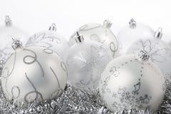 Zilveren Kerstmisballen Royalty-vrije Stock Fotografie