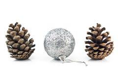 Zilveren Kerstmissnuisterij met denneappels Stock Foto