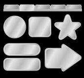 Zilveren knopen en menu Stock Foto's