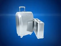 Zilveren koffer het 3d teruggeven Royalty-vrije Stock Foto's