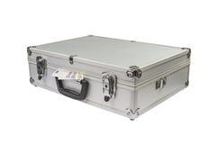 Zilveren Koffer met euro geld Stock Foto