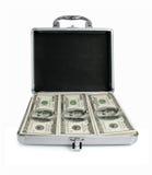 Zilveren koffer met geïsoleerde gelddollars royalty-vrije stock foto