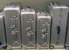 Zilveren koffers Stock Fotografie